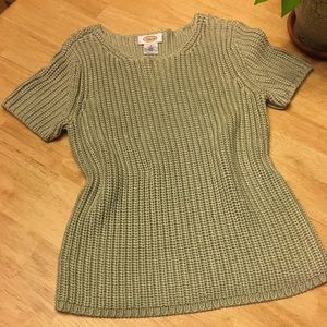 "Talbot""s silk short sleeve chunky knit  T sweater"